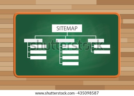 sitemap on front of the green board with list page structure vector graphic illustration - stock vector