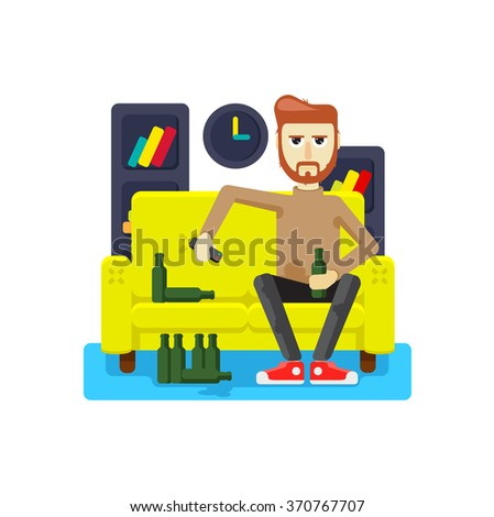 sitting at home on sofa without a job in Depression - stock vector