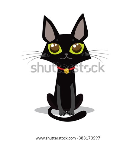 Sitting Back Cat Cartoon Vector. Sitting Cat With Big Eyes. Funny Cute Vector. - stock vector