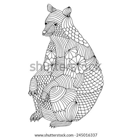 Sitting bear illustration - stock vector