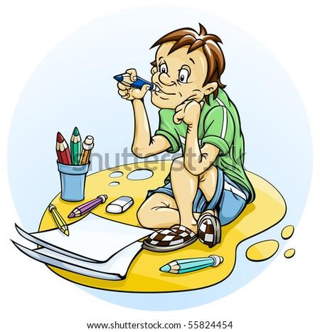 sitting boy draw pencil vector illustration - stock vector