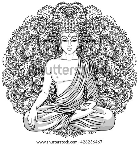 Sitting Buddha over ornate mandala round pattern. Esoteric vintage vector illustration. Indian, Buddhism, spiritual art. Hippie tattoo, spirituality, Thai god, yoga zen  Coloring book pages for adults - stock vector
