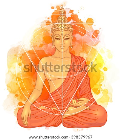 Sitting Buddha over watercolor background. Vector illustration. Vintage decorative composition. Indian, Buddhism, Spiritual motifs. Tattoo, yoga, spirituality.  - stock vector