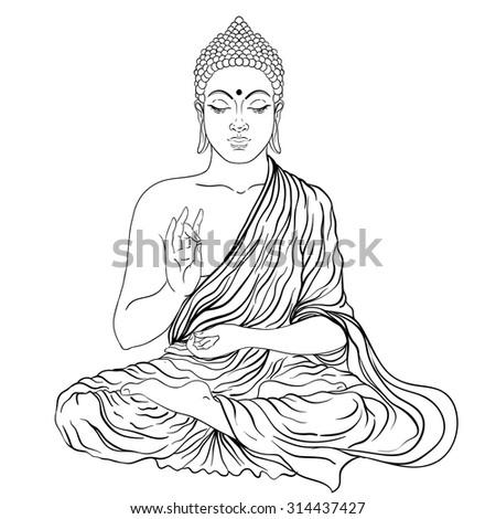 Sitting Buddha. Vector illustration. Black outlines isolated on white. Beautifully detailed, serene. Vintage decorative elements. Indian, Hindu motifs. Tattoo, yoga, spirituality, textiles. - stock vector