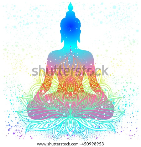 Sitting Buddha with beautifully detailed lotus flower. Esoteric vector illustration. Vintage  background. Indian, Buddhism, spiritual art. Psychedelic hippie tattoo, spirituality, Thailand, yoga zen. - stock vector