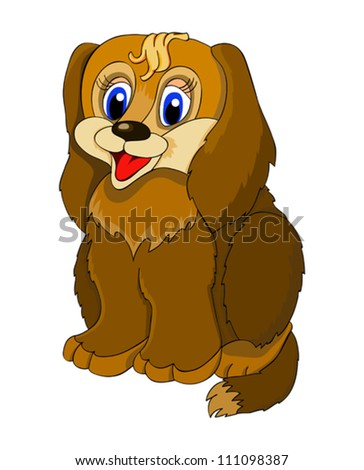 sitting cartoon dog with isolation on a white background - stock vector