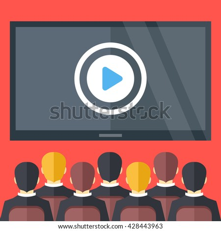 Sitting people and big black screen with play button. Cinema, business video presentation, corporate training concepts. Flat design vector illustration - stock vector