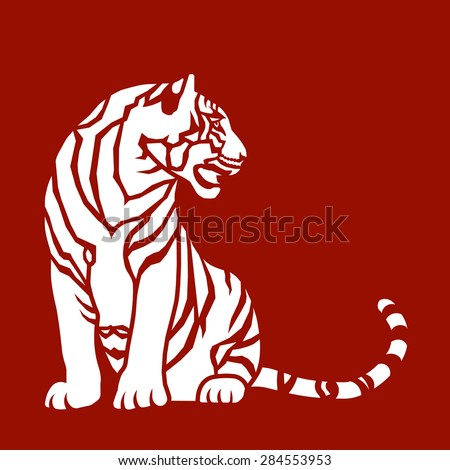 Sitting Tiger. Graphic arts or paper cutting template. Signs of the Chinese zodiac. - stock vector