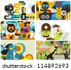 Six business card covers. Vector illustration. - stock vector