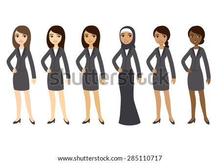 Six cartoon young businesswomen of different ethnicities in formal clothes. Isolated on white background. - stock vector