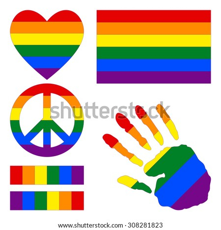 Six-color rainbow gay pride flag, heart, pacific sign, equality symbol and hand print for you design. Collection of gay culture symbols.  - stock vector