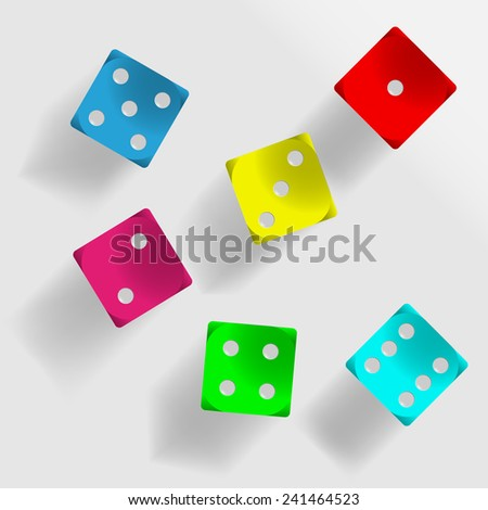 Six colored dice with shadow on grey background illustration - stock vector