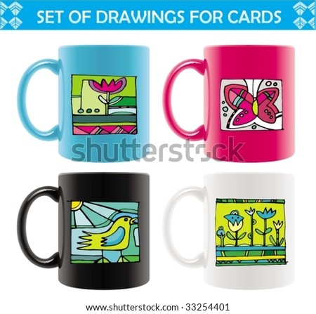 Six colored mugs  with  abstract summer drawings. To see similar, please VISIT MY PORTFOLIO   - stock vector