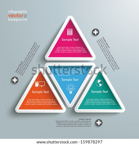 Six colored triangles on the grey background. Eps 10 vector file. - stock vector