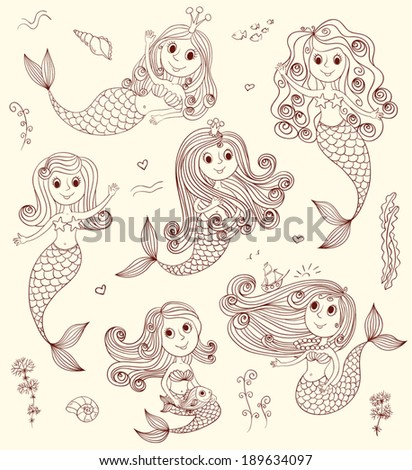 Six cutest happy mermaids. Vector sketch cartoon illustration. - stock vector