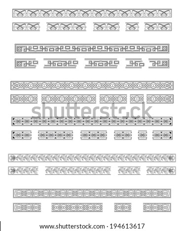 Six decorative bands and modular elements to create others in any dimension - stock vector