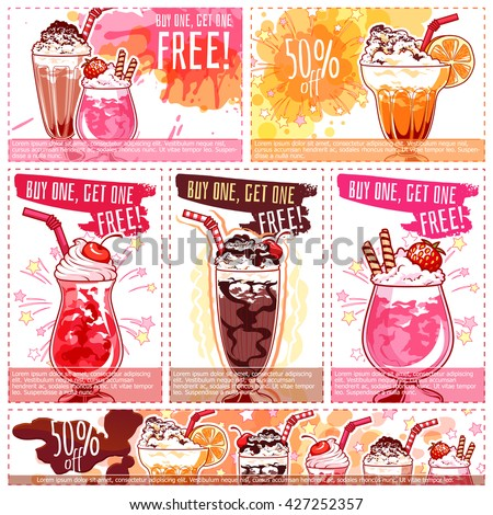 Six different discount coupons for milkshakes. Vector template discount voucher isolated on a white background. - stock vector