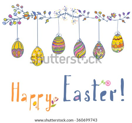 Six different Easter eggs ornaments stripes hanging on blooming vines. Happy Easter greeting card with spring flowers, eggs. Easter hand drawn elements for your design. Easter eggs hanging on a string - stock vector
