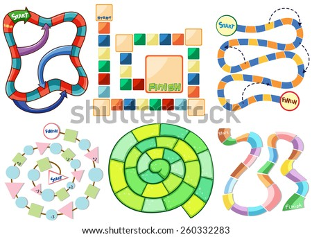 Six different templates of puzzle game - stock vector