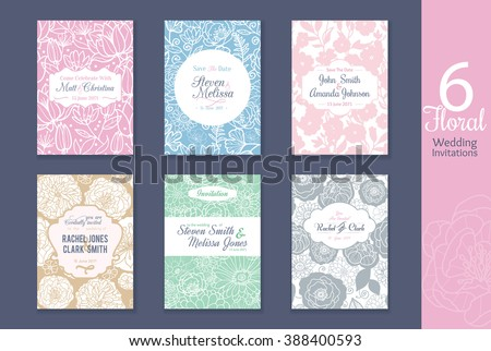 Six floral wedding, save the date invitations set with bride and groom names, text, repeat pattern backgrounds perfect for any event. - stock vector
