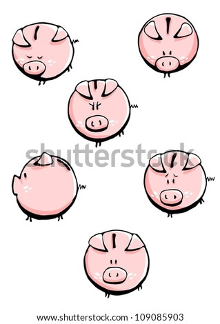 Six funny vector pig. Each of pig is separate object. - stock vector