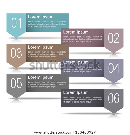Six infographics design elements with numbers and place for your text, vector eps10 illustration - stock vector