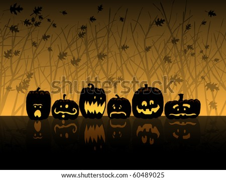 Six jack-o-lanterns sit in the woods on Halloween - stock vector