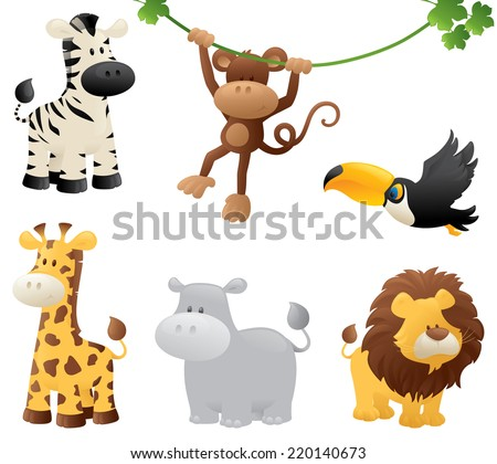 Six jungle animals. - stock vector