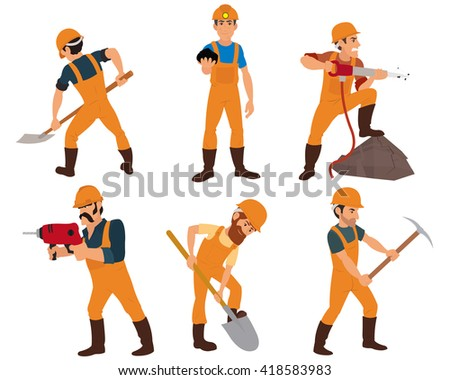 six miner isolated on white background. instruments miners mined in the ore mine. vector.  - stock vector