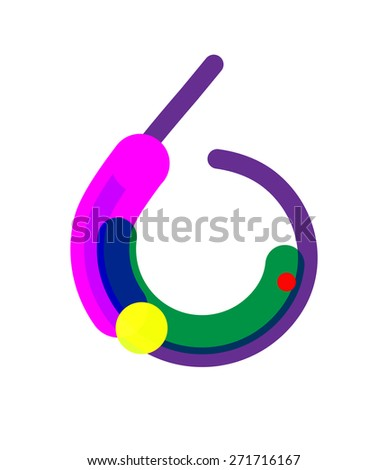 Six Number Symbol. Vector Illustration - stock vector