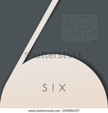 Six : Numeral Graphic in Overlapping Element : Vector Illustration - stock vector
