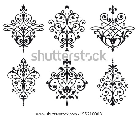 Six old style vector decorations - stock vector