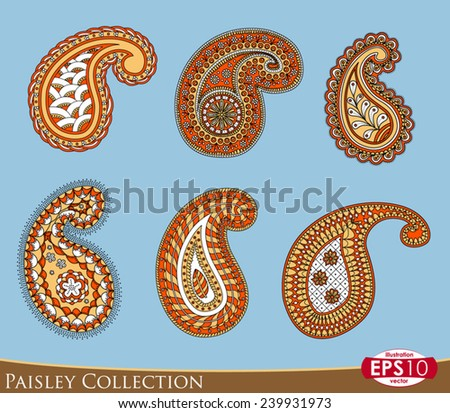 Six paisley ornament elements in four colour. - stock vector