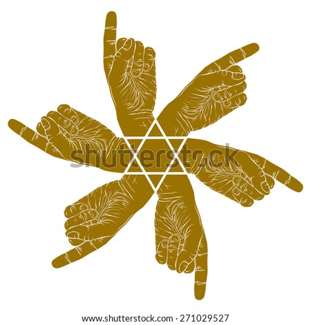 Six pointing hands abstract symbol with hexagonal star, single color vector special emblem with human hands. - stock vector