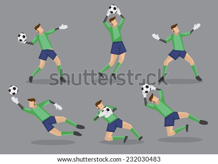 Six poses of goalkeeper in green jersey handling soccer ball. Vector character icons isolated on grey background. - stock vector