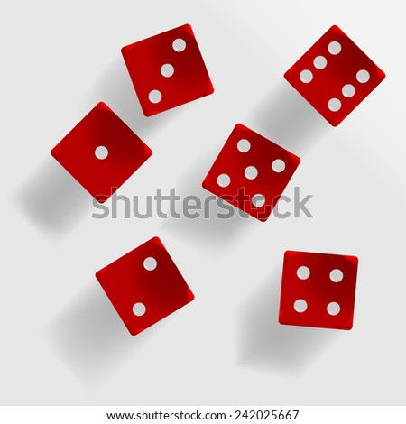 Six red dice with shadow on grey background illustration - stock vector