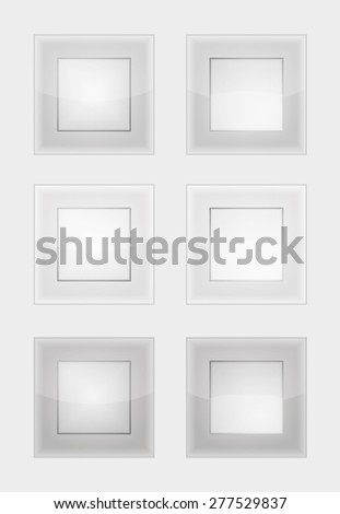 six square badges or buttons with gray or silver color, difference between left and right button is in middle part - the left middle part imitates convex and the right concave panel - stock vector