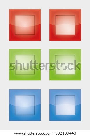 six square badges or buttons with red, green and blue color, difference between left and right button is in middle part - the left middle part imitates convex and the right concave panel - stock vector
