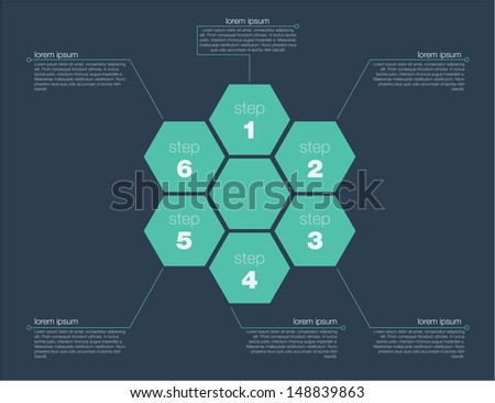 Six step success concept. Flat design in editable vector format - stock vector