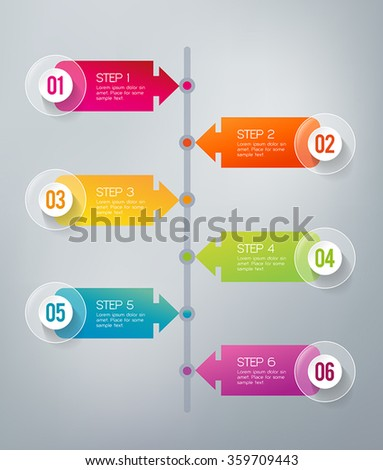 Six steps infographics - can illustrate a strategy, workflow or a timeline - stock vector