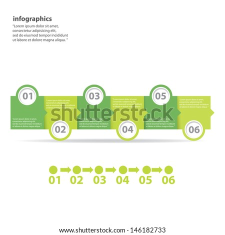 six steps Modern green Design template / can be used for infographics / numbered banners / horizontal cutout lines / graphic or website layout vector - stock vector