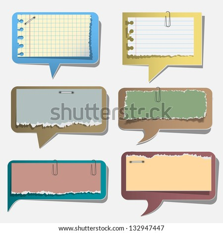 Six torn paper speech bubbles.Vector set - stock vector