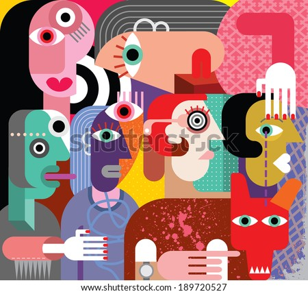Six women and dog - abstract art vector illustration.  - stock vector