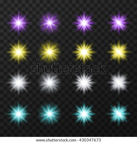 Sixteen colorful, bright stars. Vector, eps10.  - stock vector