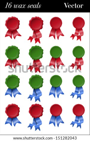 Sixteen green and red colored wax seals with red and blue ribbons - stock vector