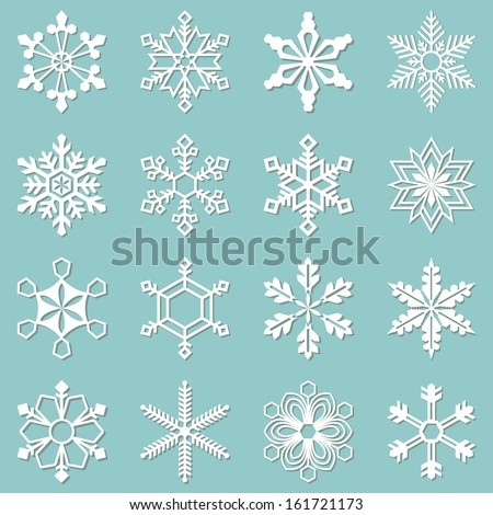 Sixteen white snowflakes of different shapes. Winter set vector illustration - stock vector