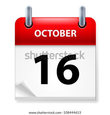 Sixteenth October in Calendar icon on white background - stock vector