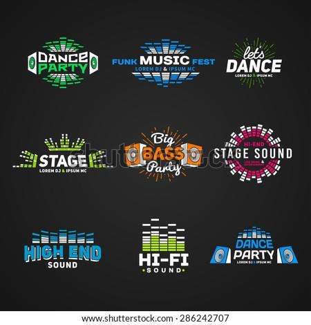 Sixth set music equalizer emblem vector on dark background. Modern colorful logo collection. Sound system illustration. - stock vector