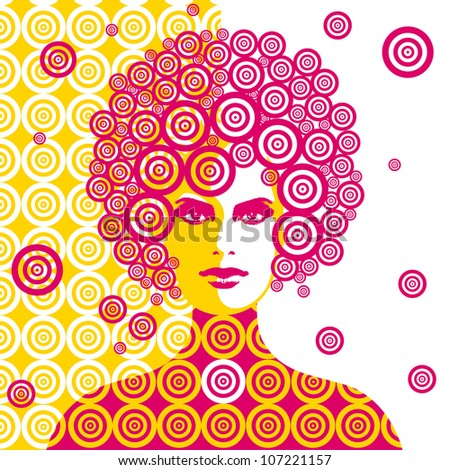 sixties woman illustration - stock vector