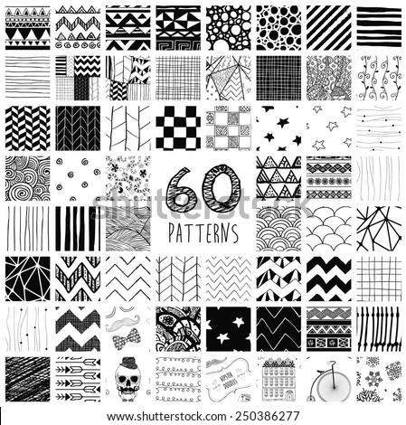 Sixty Abstract Hand Drawn Geometric Black Seamless Pattern Swatches with Transparent Background - stock vector
